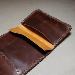 Botellero de Cuero marron de mesa para vinos